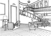 Classic Decor Large Living Room with Stairs