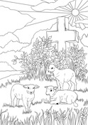 Easter Lambs and Jesus's Cross