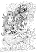 Mermaid Holding a Cell with a Speaking Fish