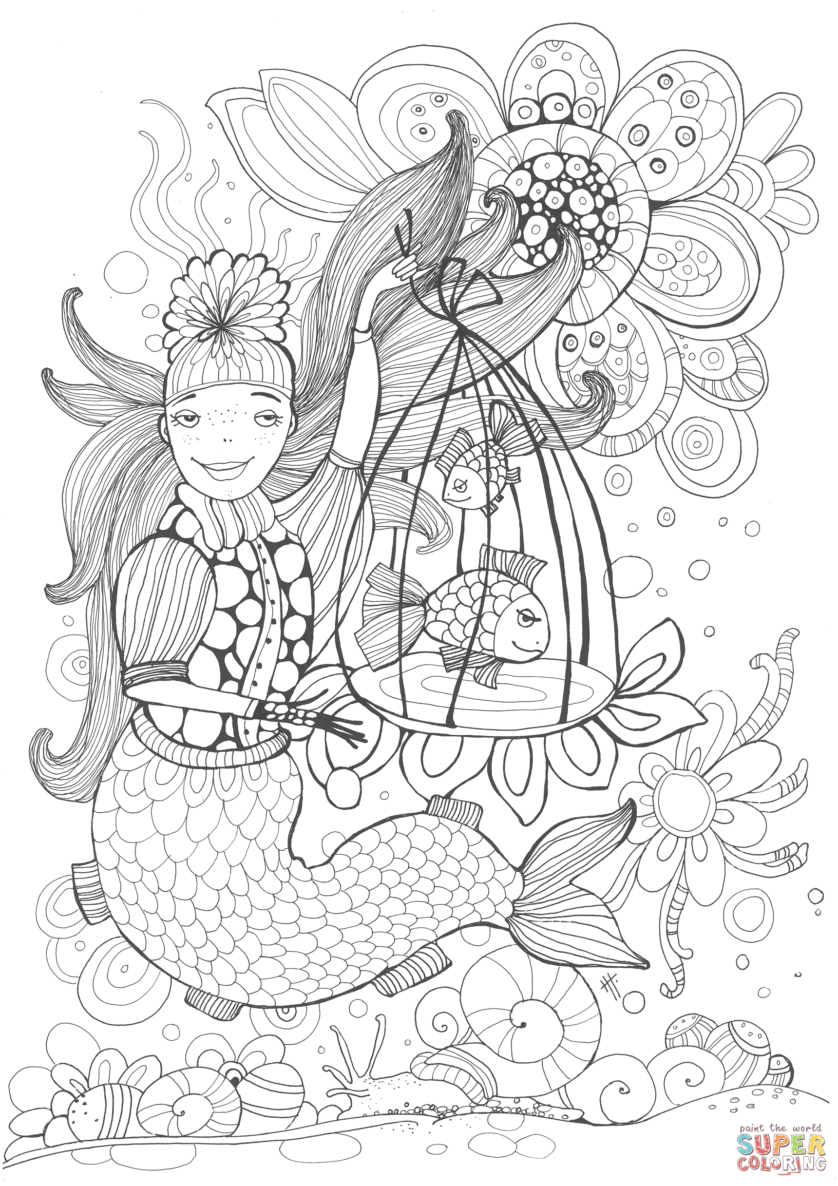Mermaid Holding A Cell With A Speaking Fish Coloring Book