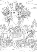 Rabbit Father with His Rabbit Son are Carrying Festive Baskets Full of Easter Eggs and Flowers