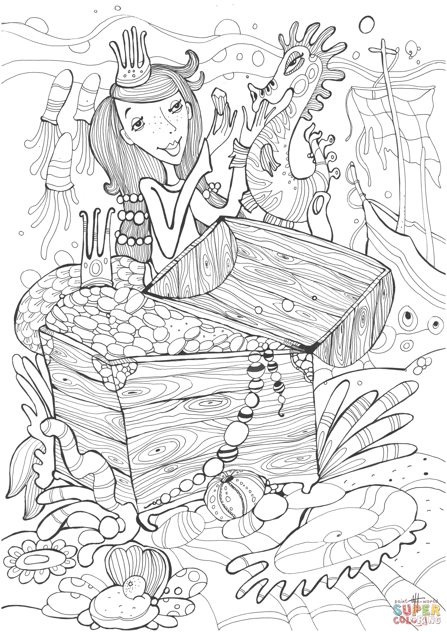 Sea Horse And Princess Mermaid Found Treasure Coloring Book