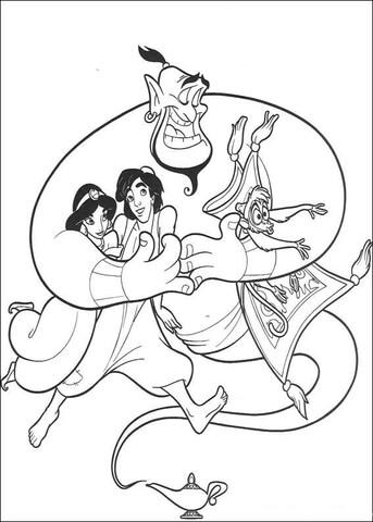 Aladdin, Jasmine, Abu and the Carpet  from Aladdin