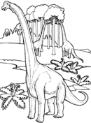 Brachiosauruses Near Tree