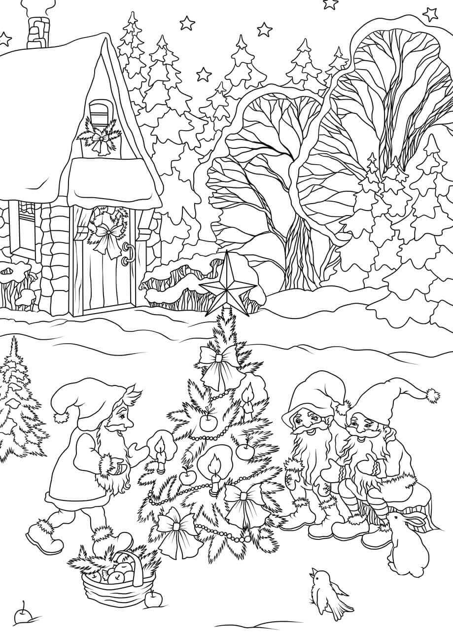 Gnomes Decorating a Christmas Tree