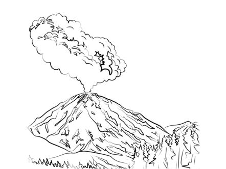 lassen peak volcano eruption coloring page