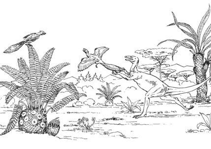 Ornitholestes Chasing Archaeopteryx