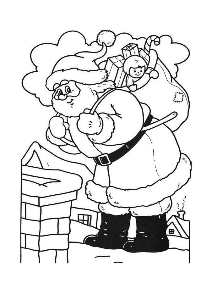 Santa Jumping Into The Chimney