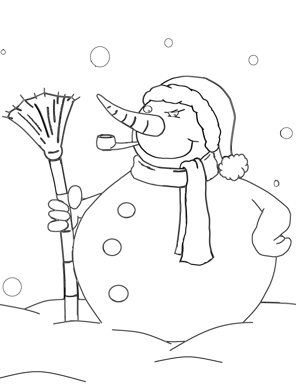 Snowman with Pipe and Broom