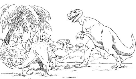 Stegosaurus And Tyrannosaurus