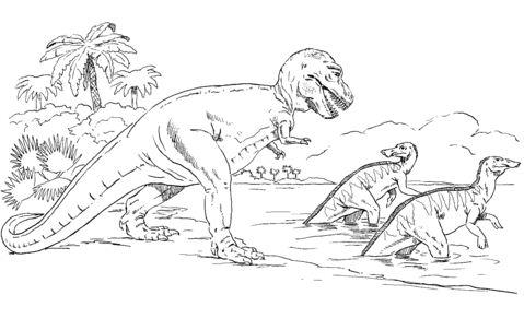 Tyrannosaurus Chasing Trachodons