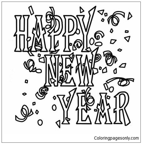 """Happy New Year"" Poster Coloring Page"