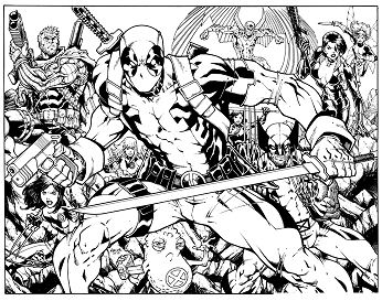 Deadpool With Friends Coloring Page