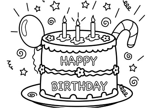 Elephant with Balloons Happy Birthday Coloring Page - Free ...