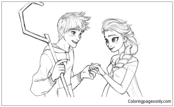 Elsa And Jack  Coloring Page