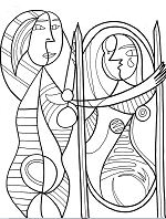 Girl Before A Mirror - Pablo Picasso Coloring Page