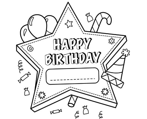 Happy Birthday Printable Star