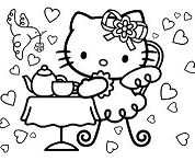 Hello Kitty Tea Party Coloring Page