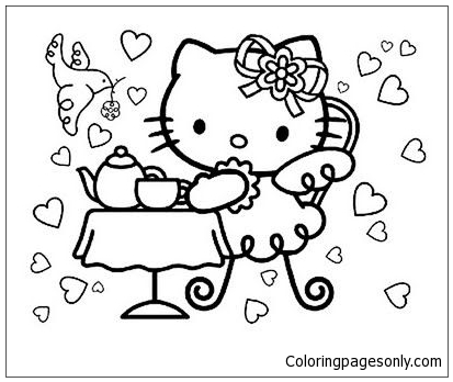 - Hello Kitty Tea Party Coloring Page - Free Coloring Pages Online