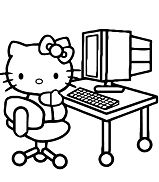 Hello Kitty With Her Computer