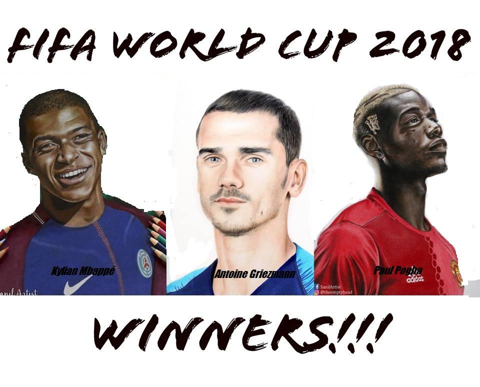 Kylian Mbappé, Antoine Griezmann and Paul Pogba