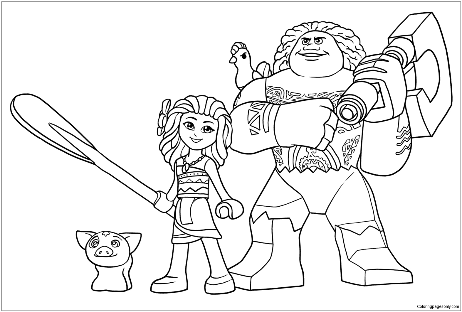 Lego Maui And Moana Coloring Page Free Coloring Pages Online