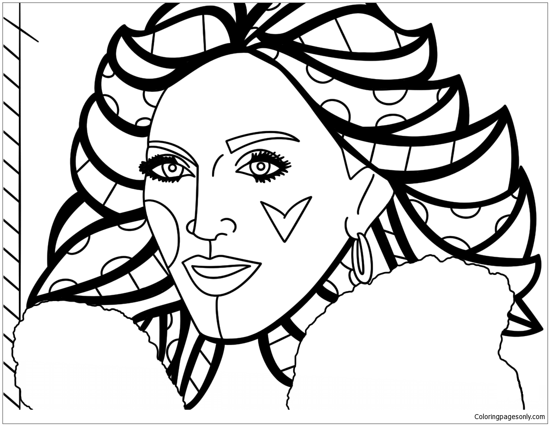 Madonna By Romero Britto Coloring Page Free Coloring
