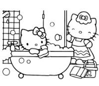 Mom And Hello Kitty In The Bathroom Coloring Page