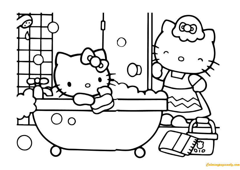 Mom And Hello Kitty In The Bathroom Coloring Page Free