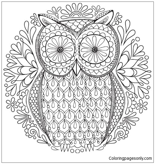 Owl Nature Mandala Coloring Page - Free Coloring Pages Online