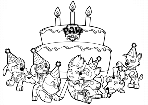 paw patrol with birthday party coloring pages  cartoons coloring pages  free printable