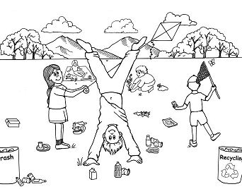 Recycling In Earth Day Coloring Page