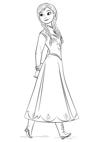 Princess Frozen Anna Coloring Page