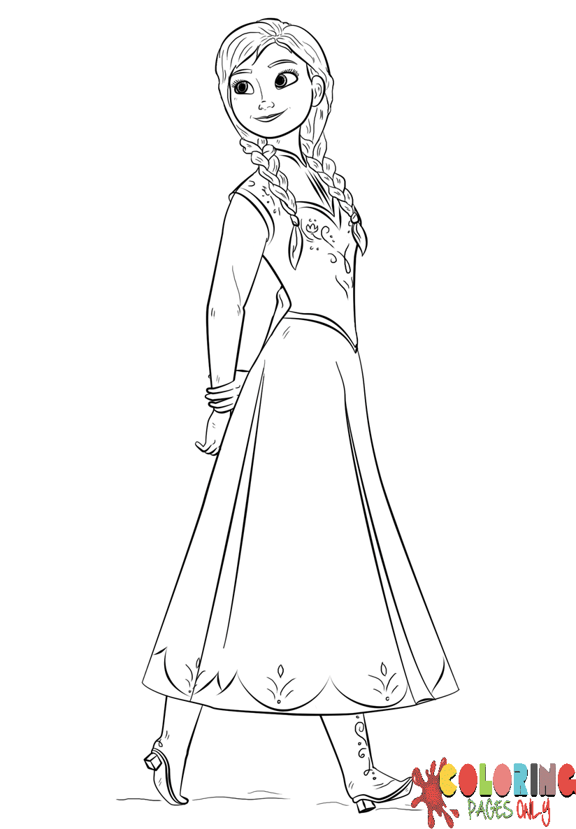 princess frozen anna coloring page  free coloring pages