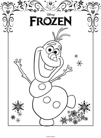 Friendly Olaf Frozen Coloring Page