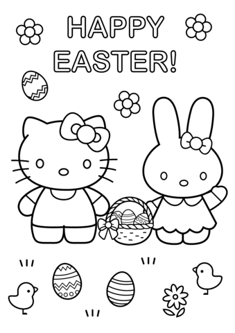 Hello Kitty and Bunny Happy Easter
