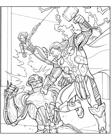 Thor Flying In The Sky Coloring Page Free Coloring Pages Online