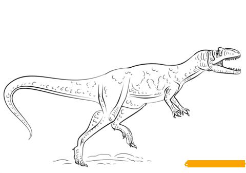 Cruel Allosaurus Dinosaurs Coloring Page