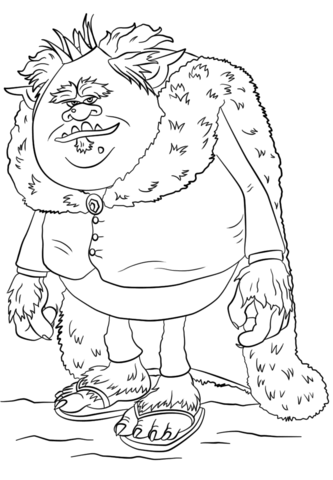 King Gristle Sr from Trolls Coloring Page