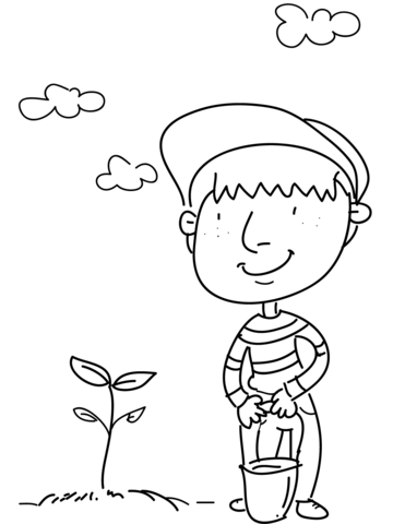 Boy Watering a Tree