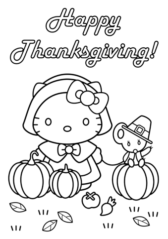 Happy Thanksgiving Hello Kitty with Teddy Bear