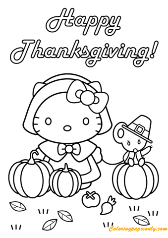 Happy Thanksgiving Hello Kitty With Teddy Bear Coloring