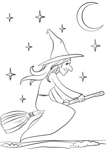 Halloween Witch Flying Moon Broomstick