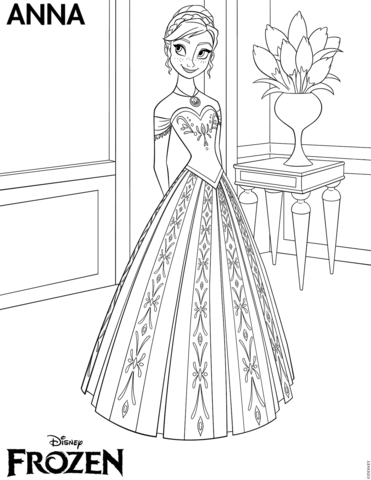 Princess Frozen Anna Flower Coloring Page
