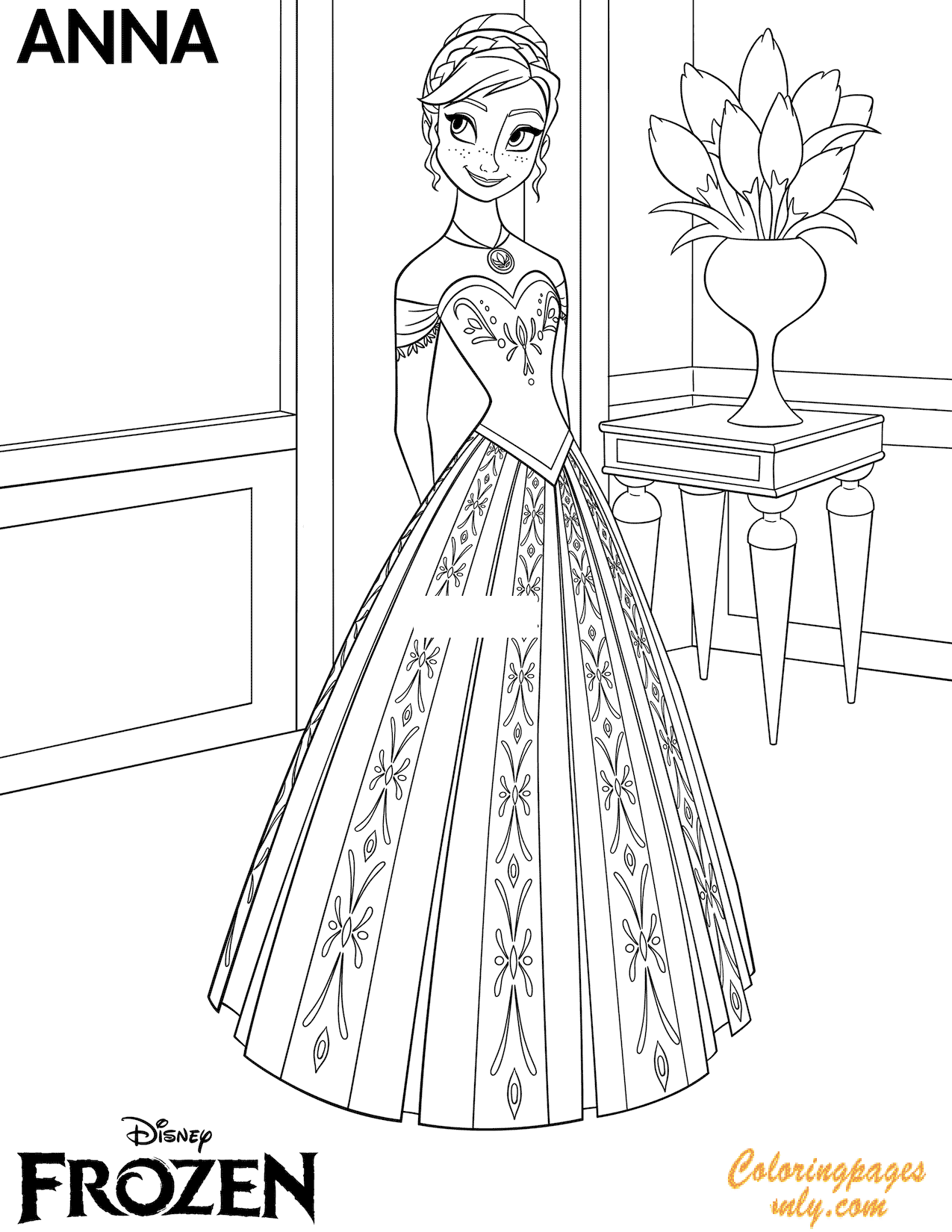 Princess Frozen Anna Flower Coloring Page - Free Coloring ...