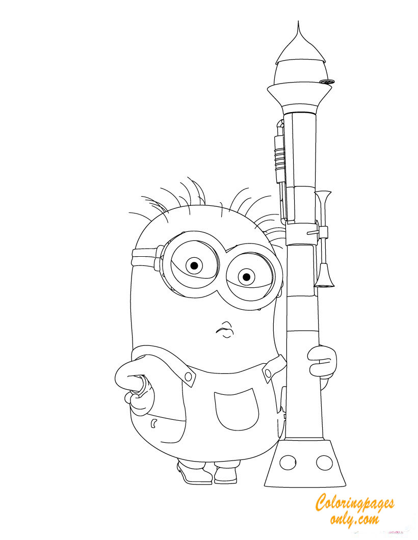 minion trumpet despicable me2 coloring page