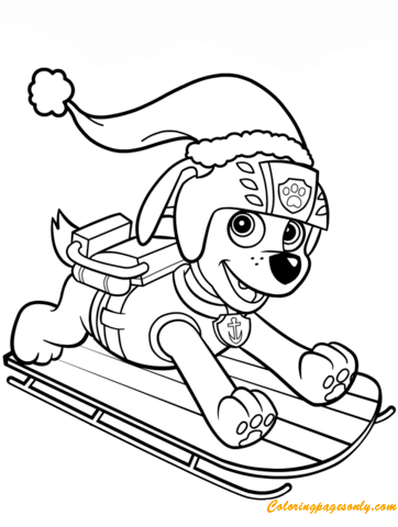 Zuma On Sled Paw Patrol Coloring Page