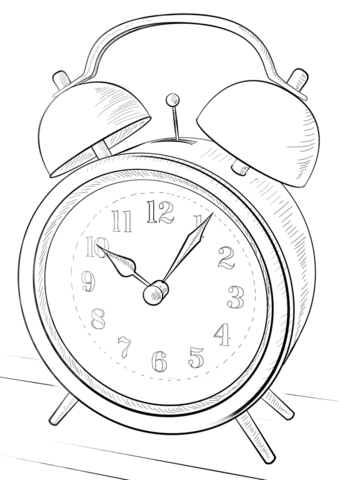 Kids Alarm Clock Coloring Page