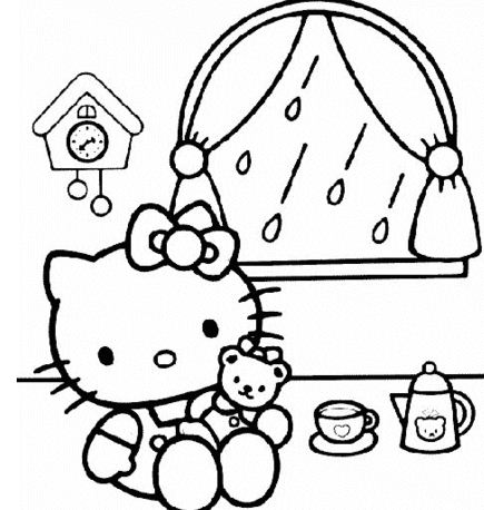 Little Kitty In Her House Coloring Page