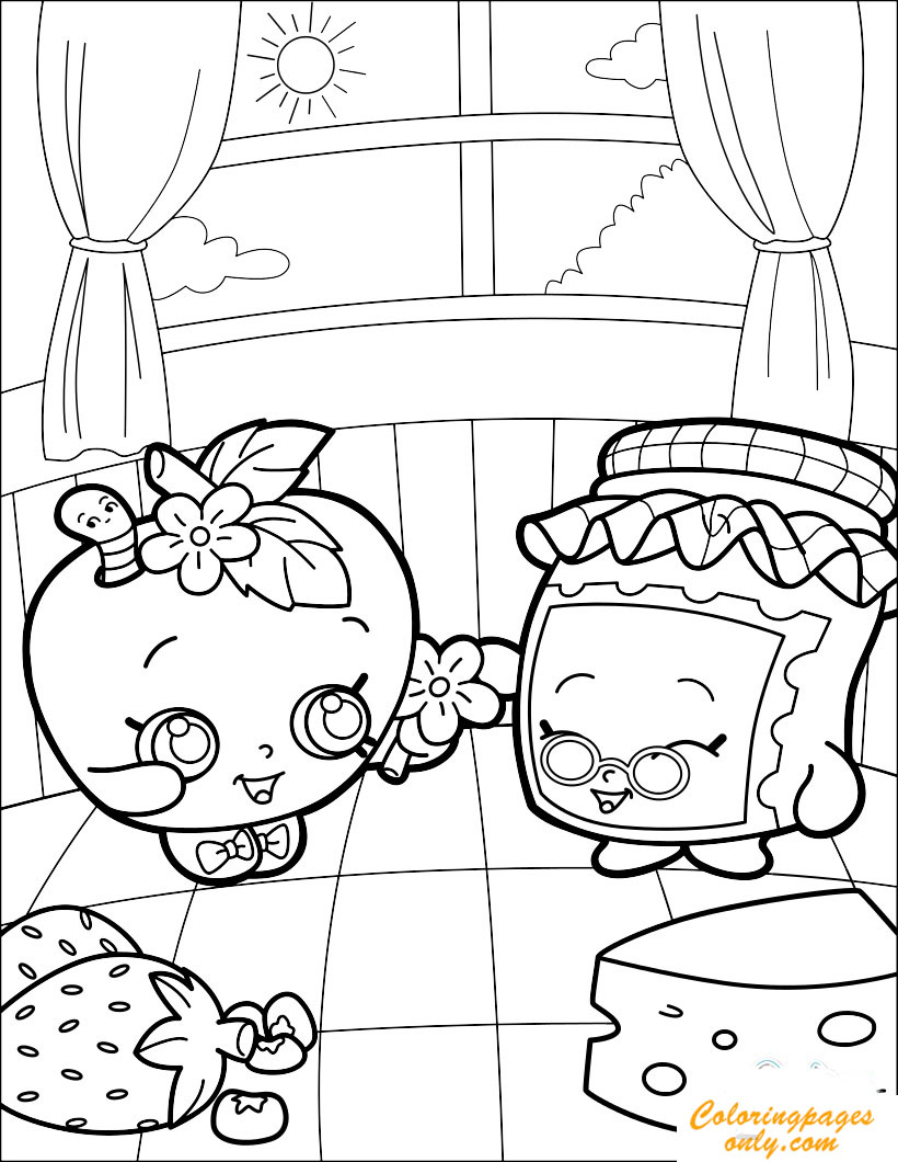 lovely gran jam and appleblossom coloring page free